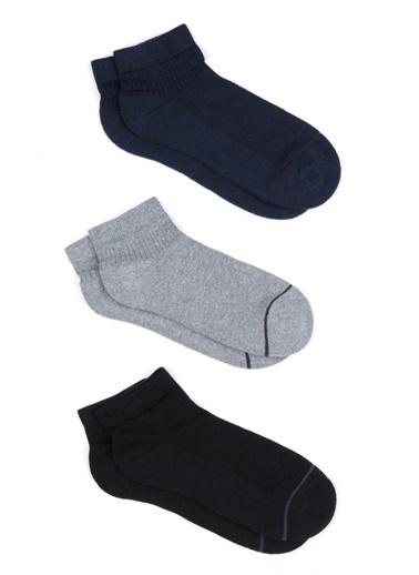 Mavi Üçlü Paket  Çorap Siyah